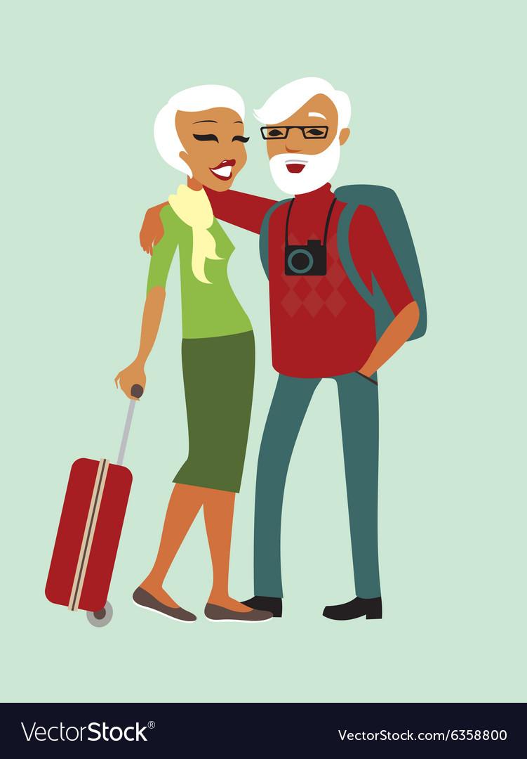Happy senior couple tourists