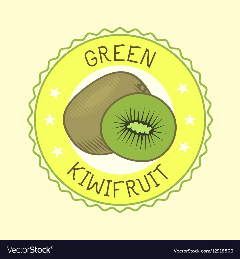 Kiwi fruit slice art label design