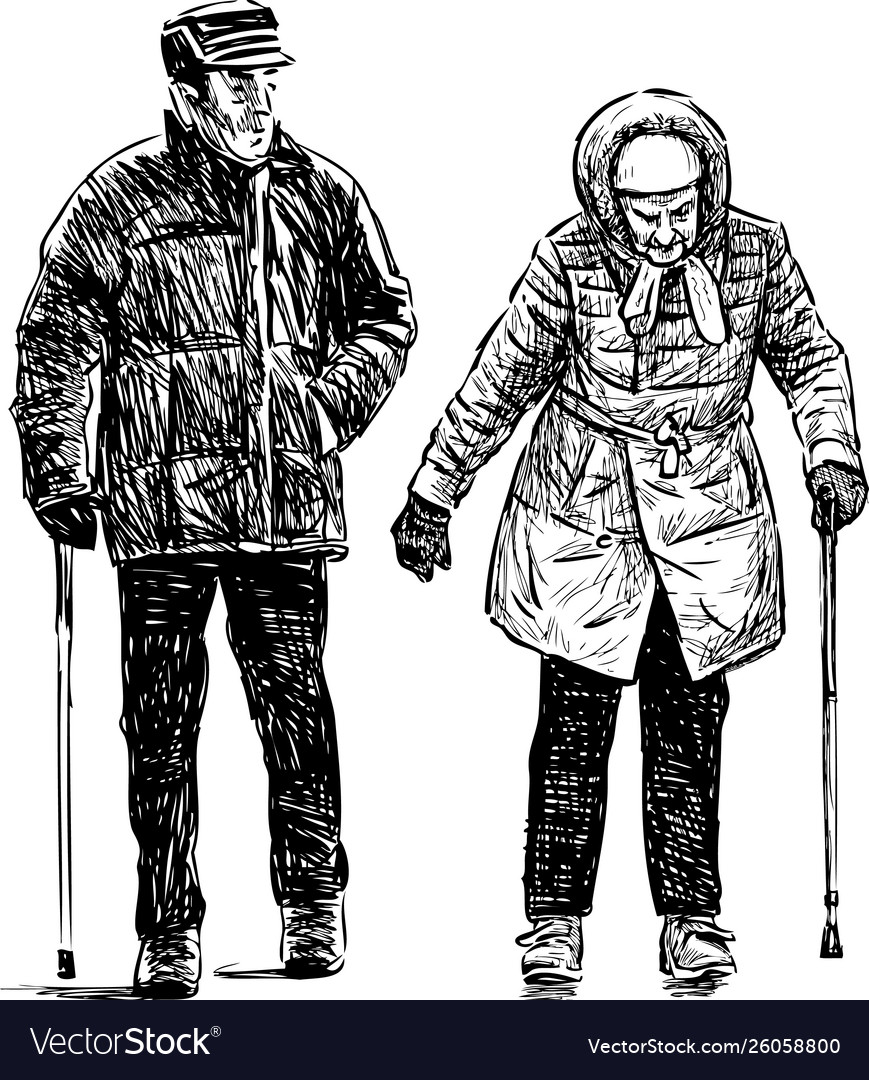 Old couple on a stroll