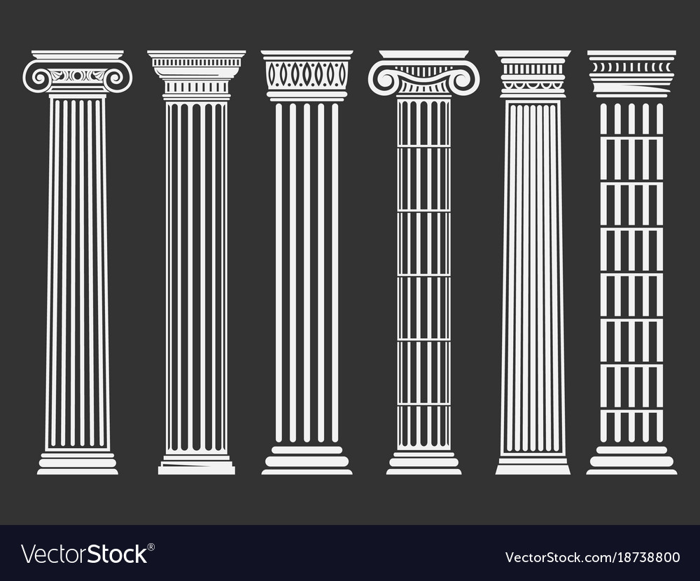 Roman and greek columns set vector image