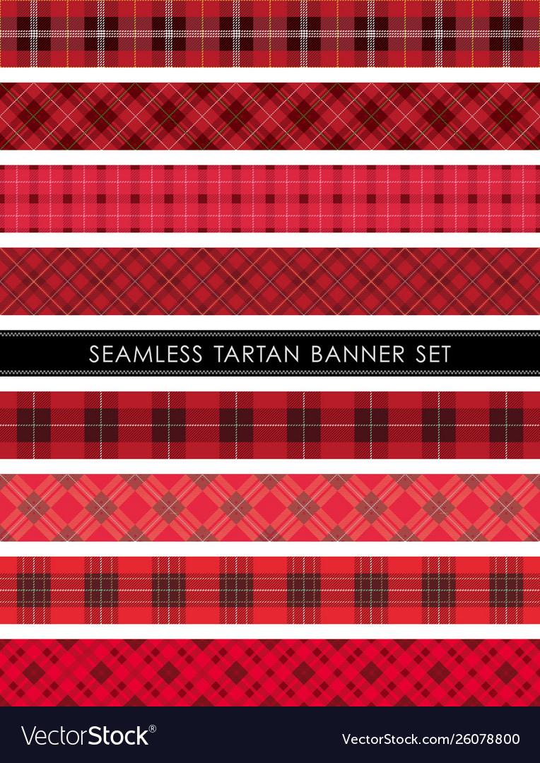 Seamless tartan plaid banner set