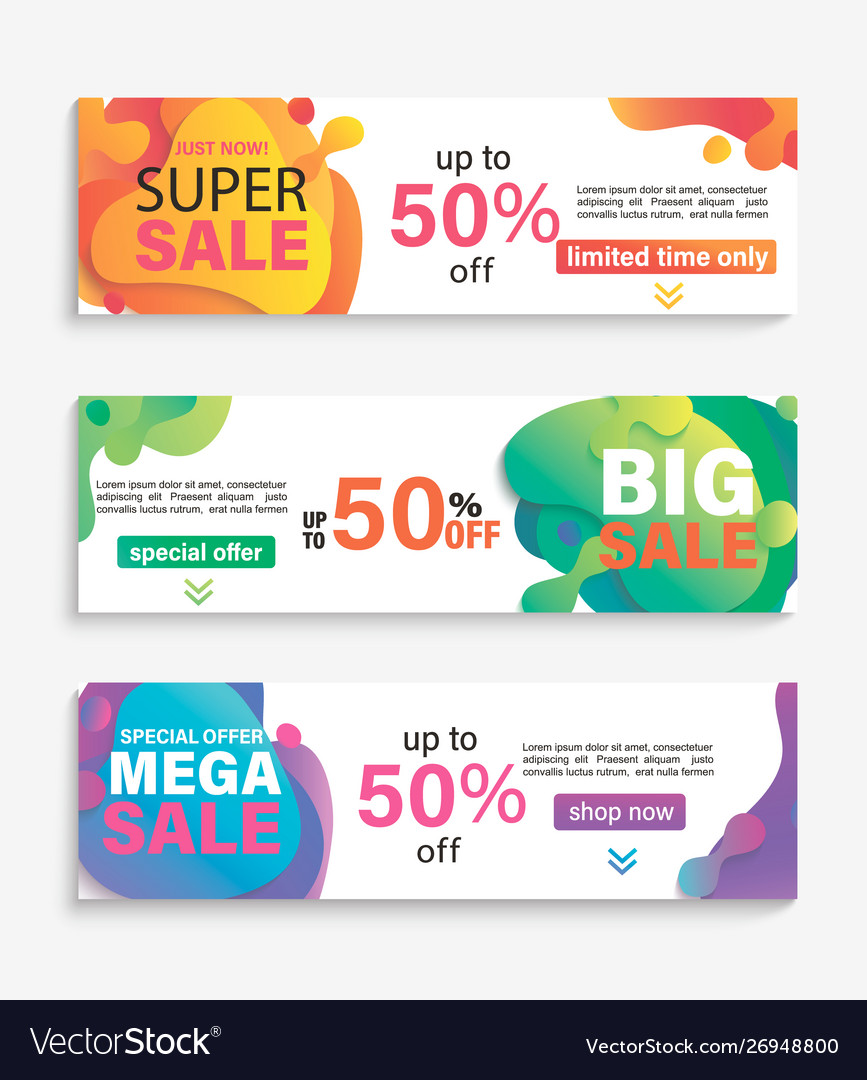 Set horizontal liquid abstract sale banners