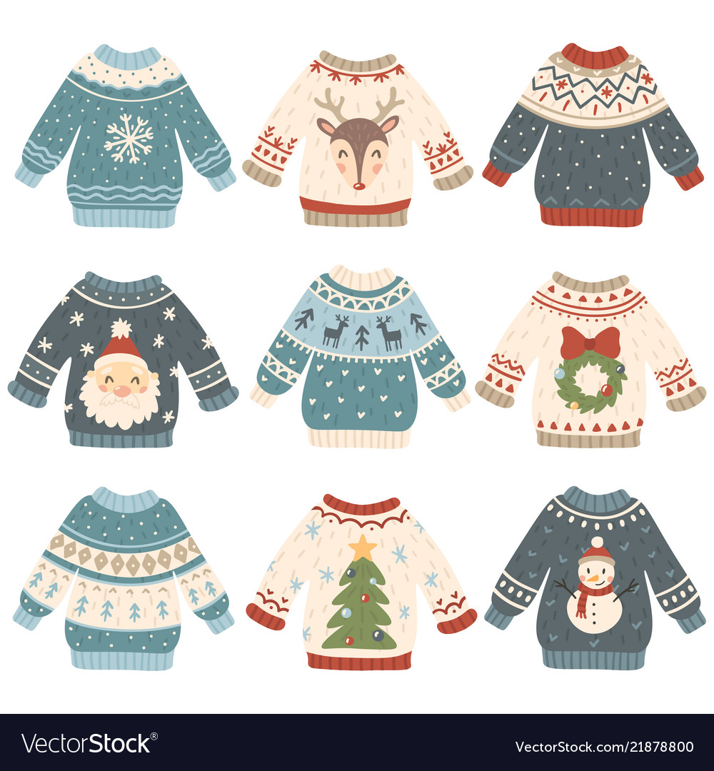 Christmas Sweaters Cute.Ugly Christmas Sweaters Cartoon Cute Wool Jumper