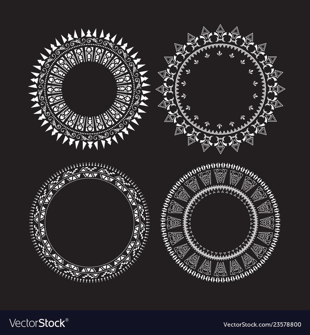Vintage circle labels set round frames