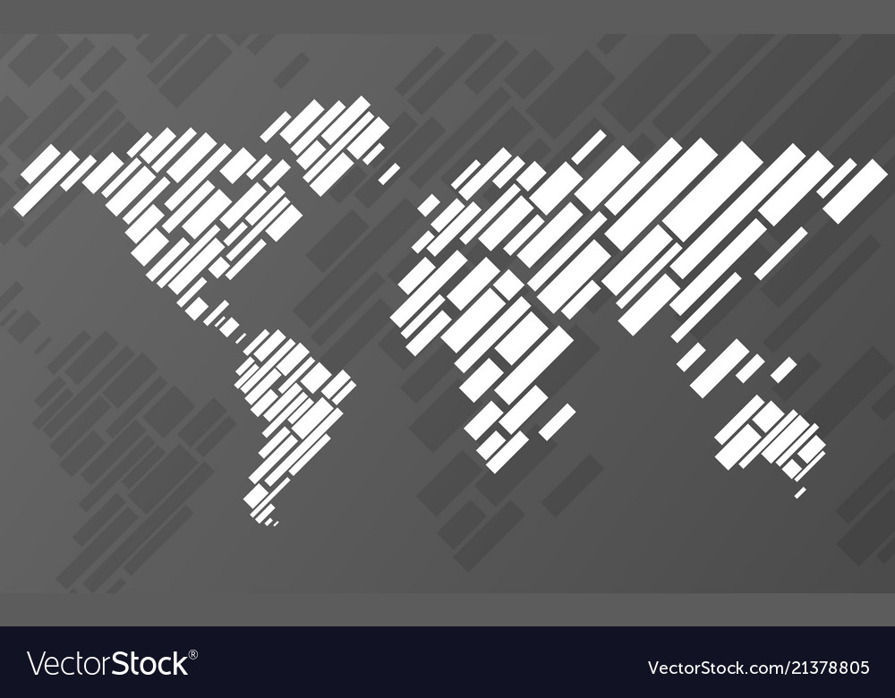 Abstract world map with lines world stripes map