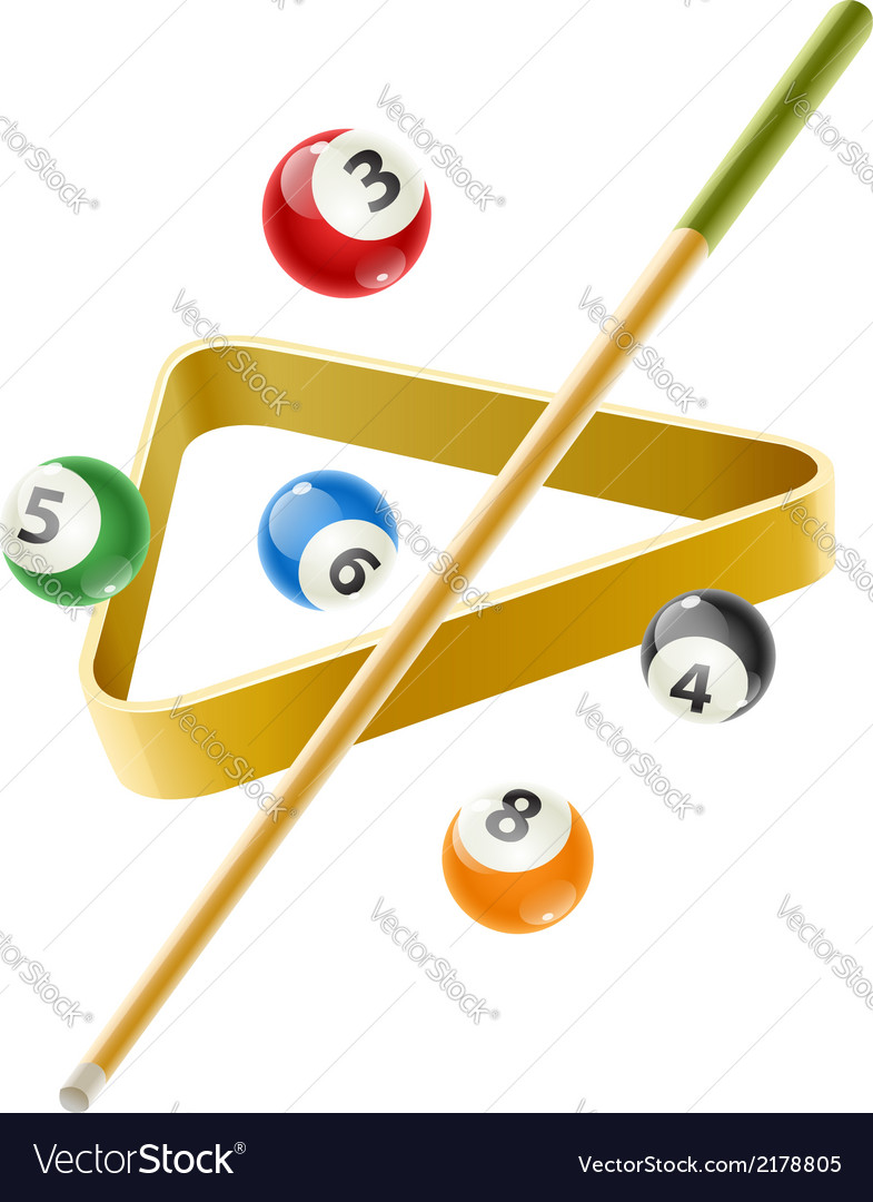 Ball and cue for billiard game vector image