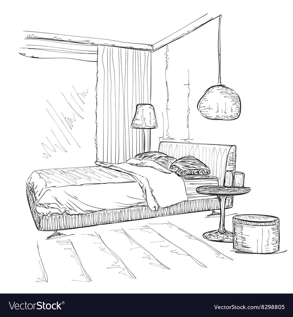 Bedroom modern interior drawing sketch
