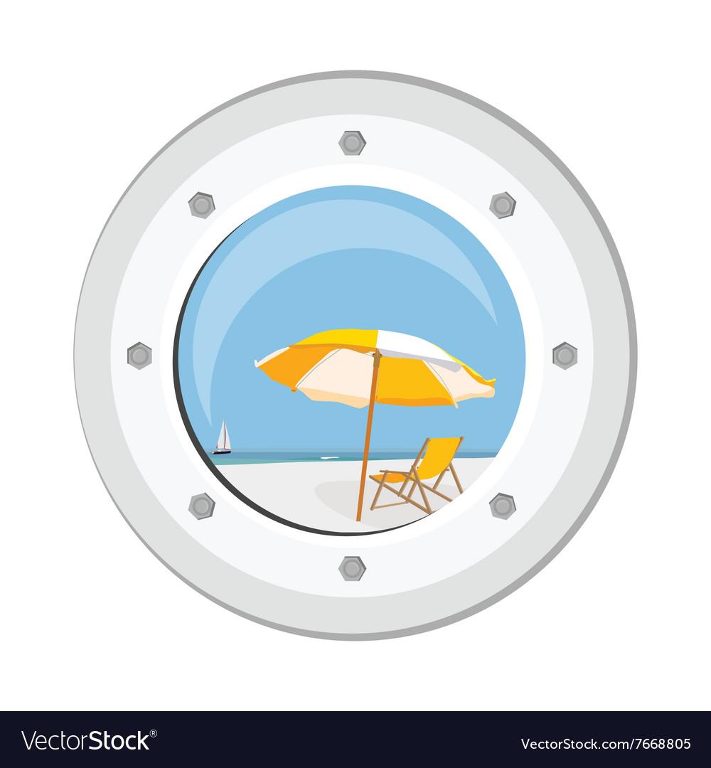 Boat round porthole vector image