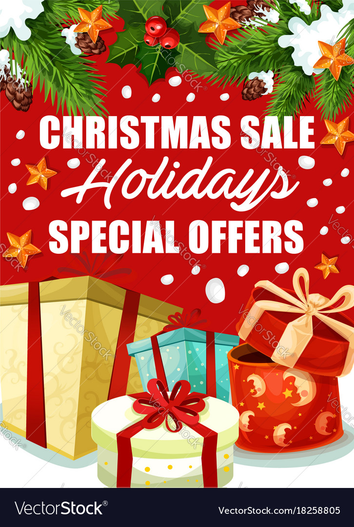 Christmas gift sale poster for winter holidays Vector Image