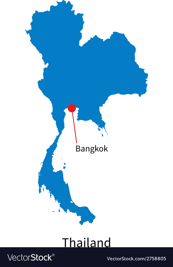 detailed map of thailand and capital city bangkok vector image. Black Bedroom Furniture Sets. Home Design Ideas