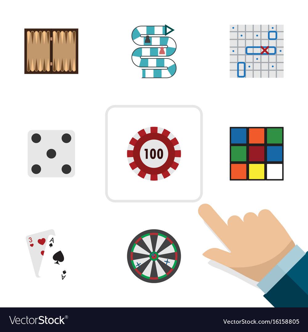 Flat icon entertainment set of cube ace arrow vector image