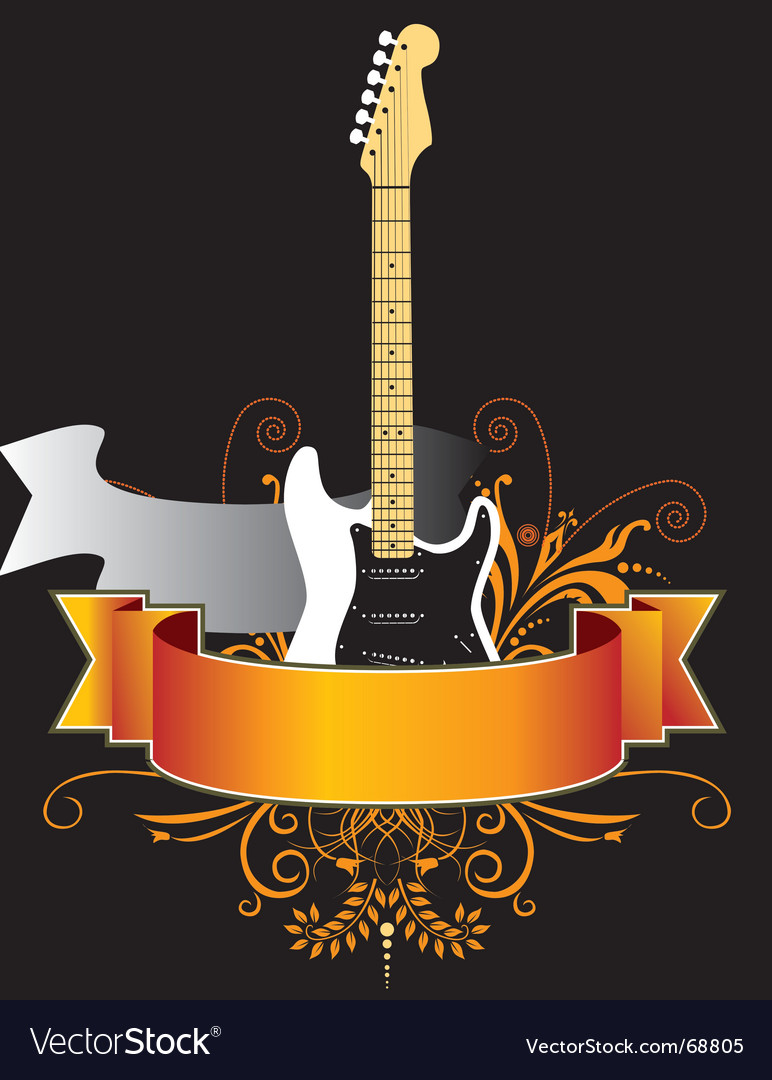 Floral Guitar Banner Royalty Free Vector Image