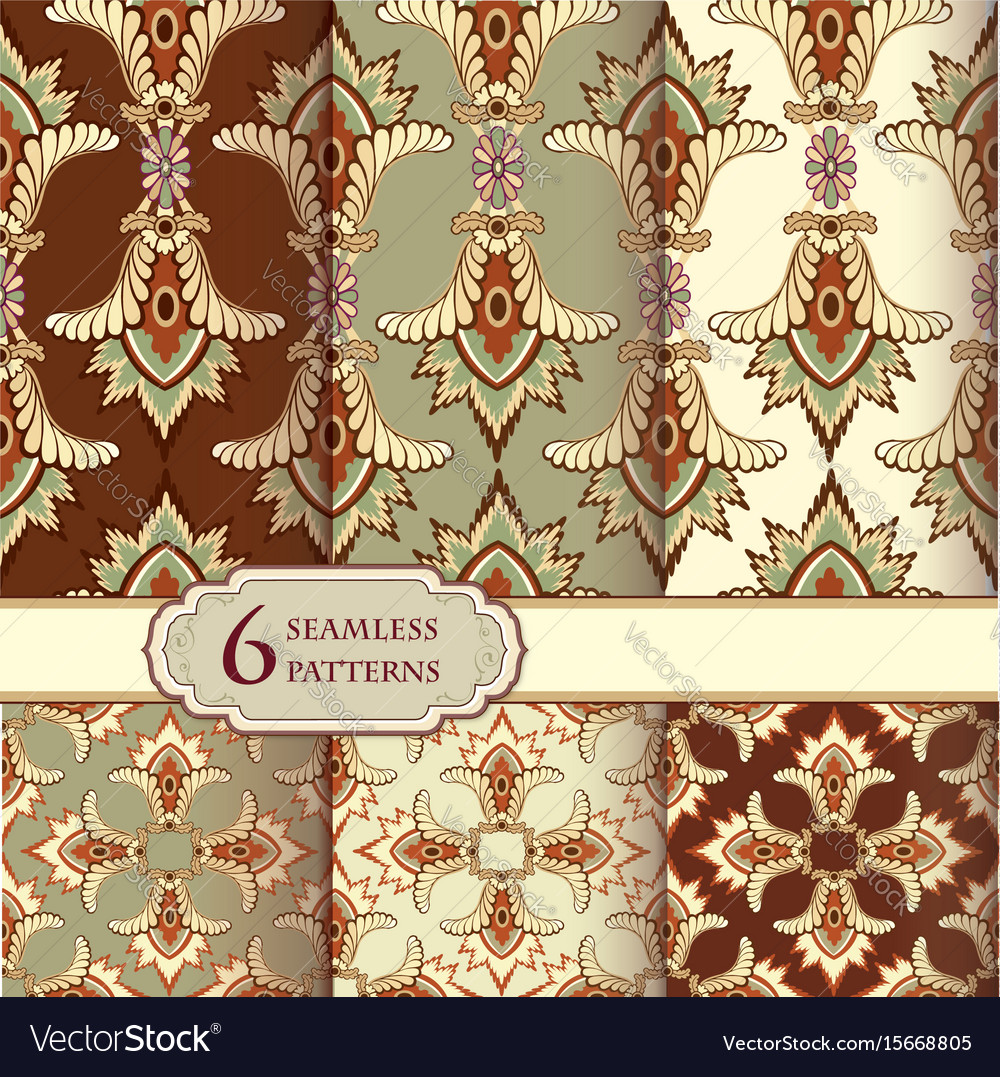 Floral seamless pattern set in vintage style