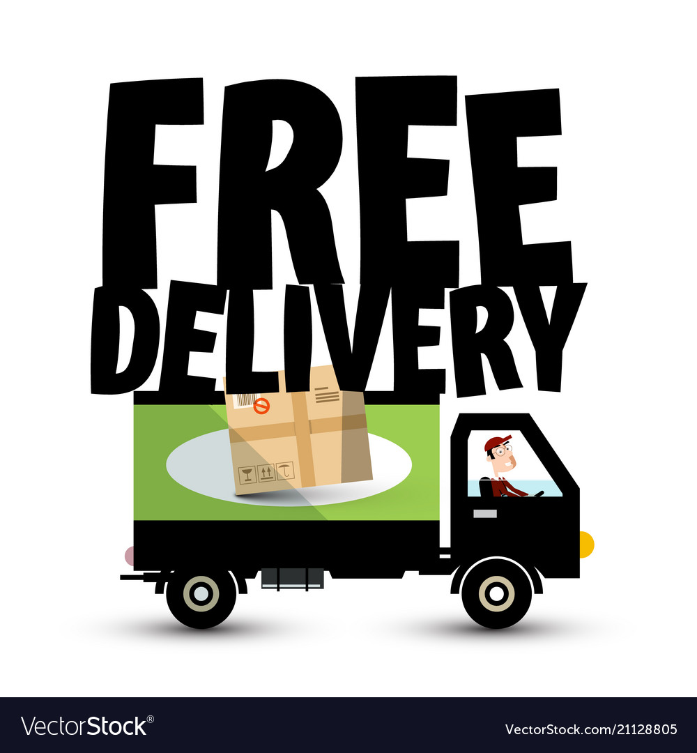 Free delivery icon with truck - van car transport