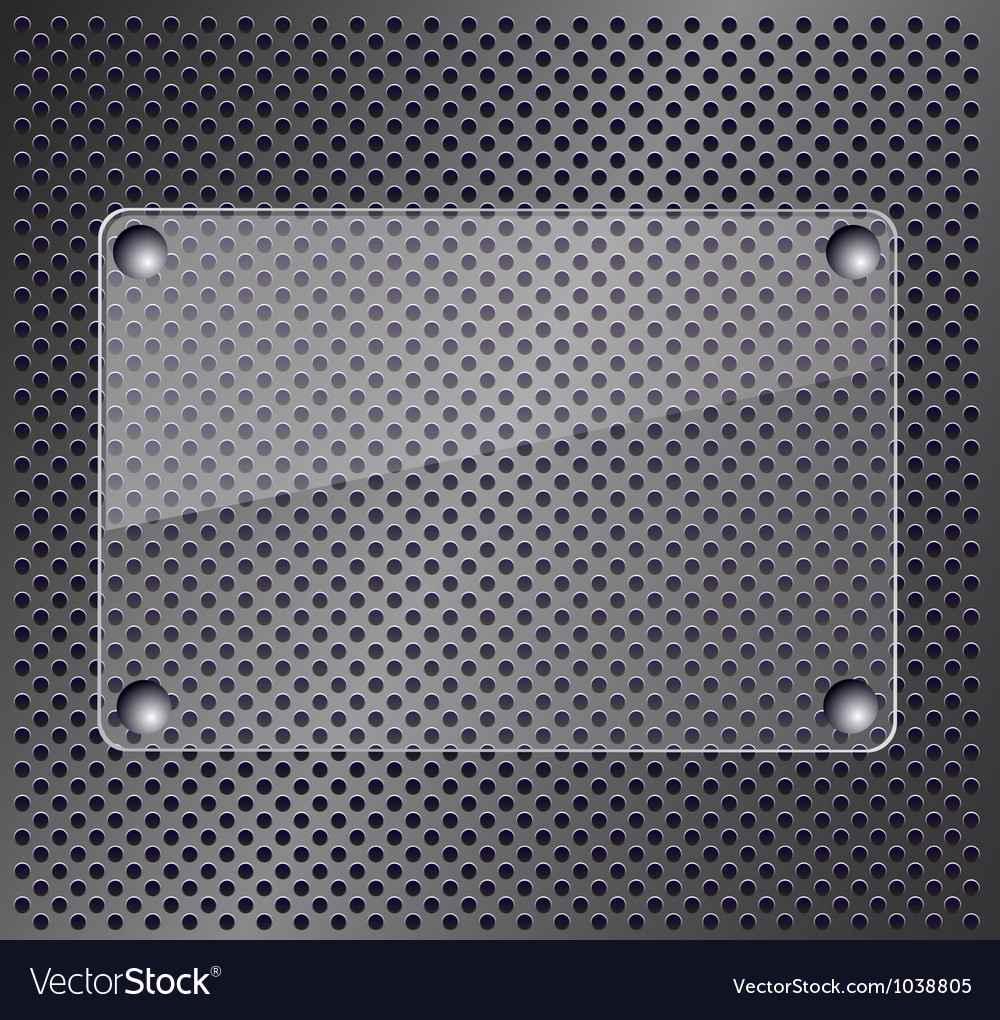 Glass plate on metallic background vector image