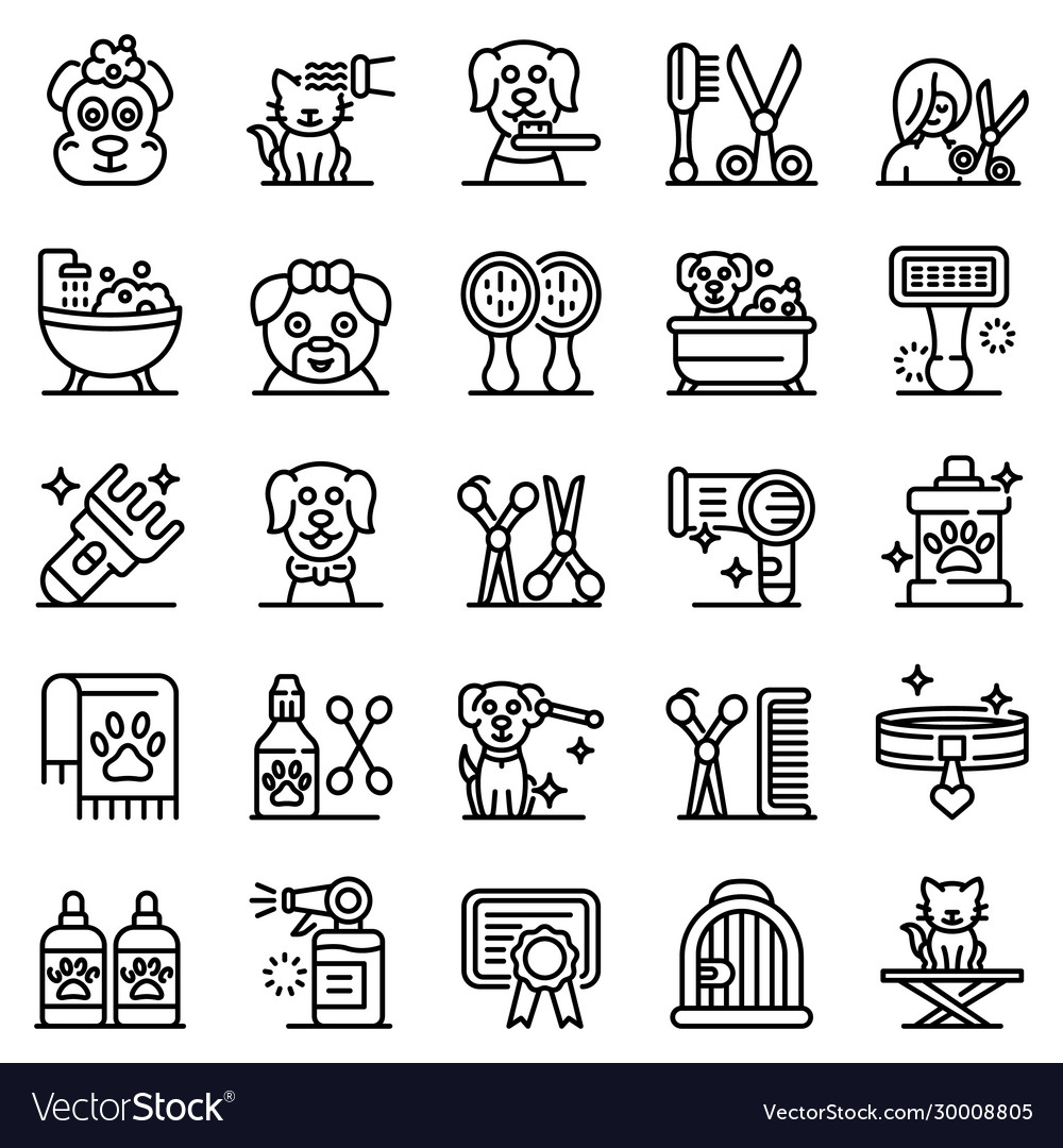 Groomer icons set outline style