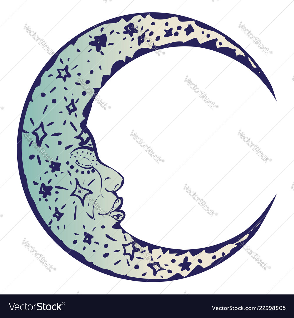 tattoo sleeping crescent moon royalty free vector image vectorstock