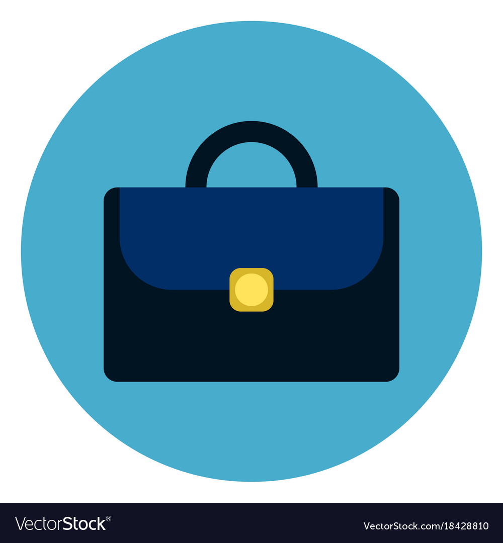 Briefcase or suitcase icon round blue background