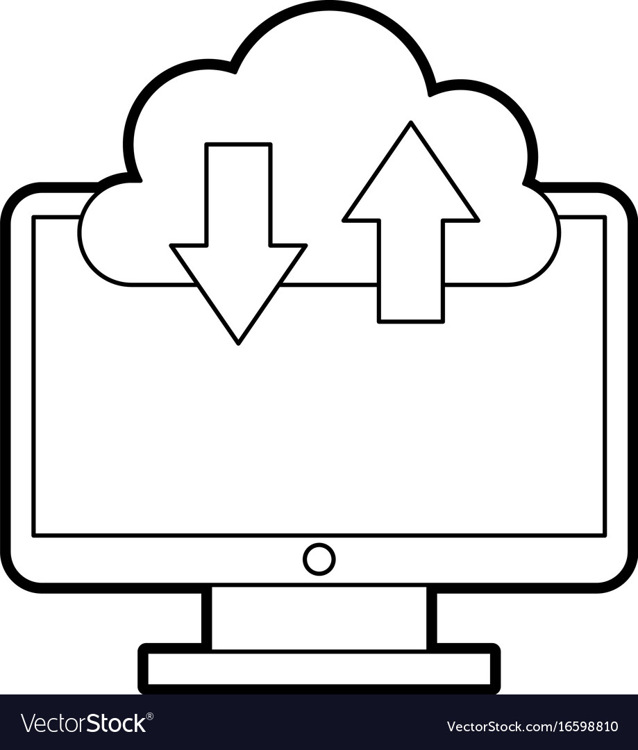 Computer desktop with cloud computing vector image