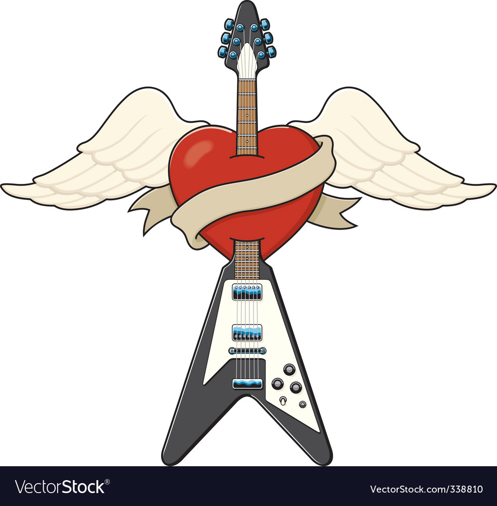 Guitar and heart tattoo