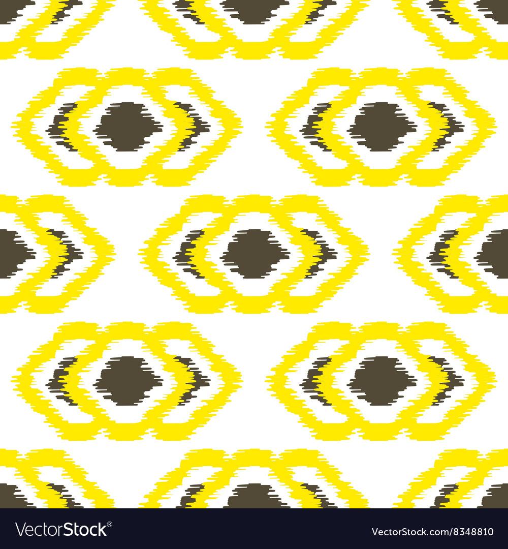 Ikat geometric seamless pattern Yellow and brown