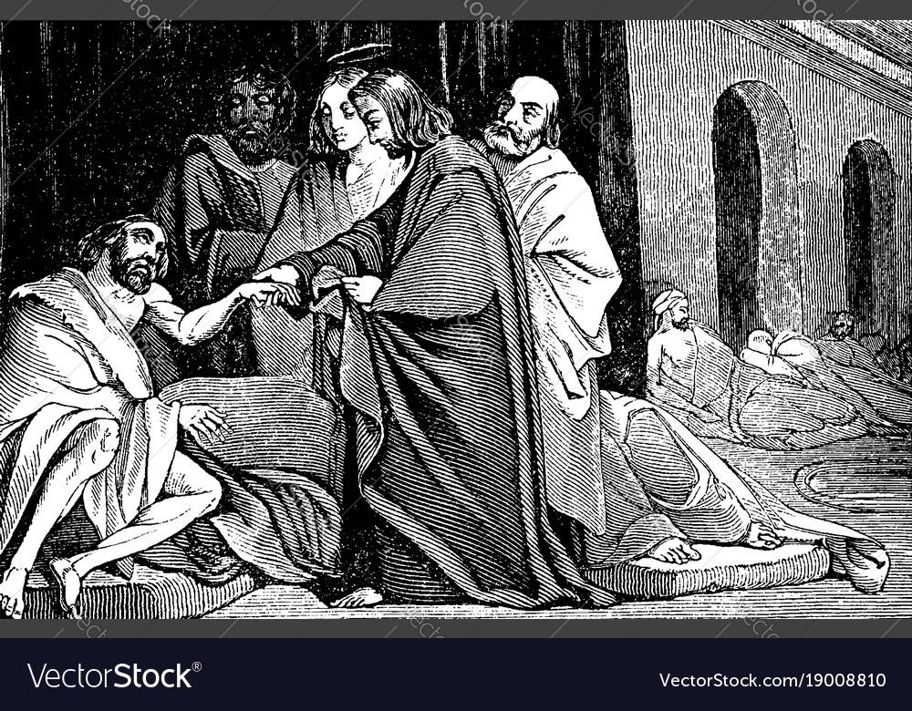 Jesus heals a man sick of the palsy vintage vector image