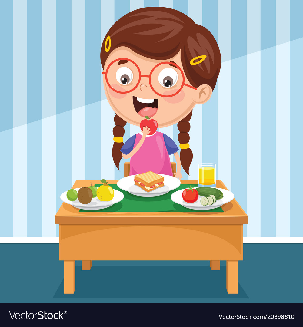 Kid having breakfast