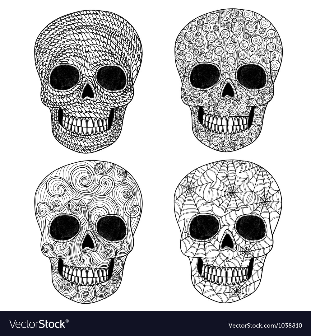Ornament skull set vector image