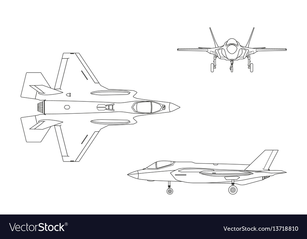 Outline drawing military aircraft