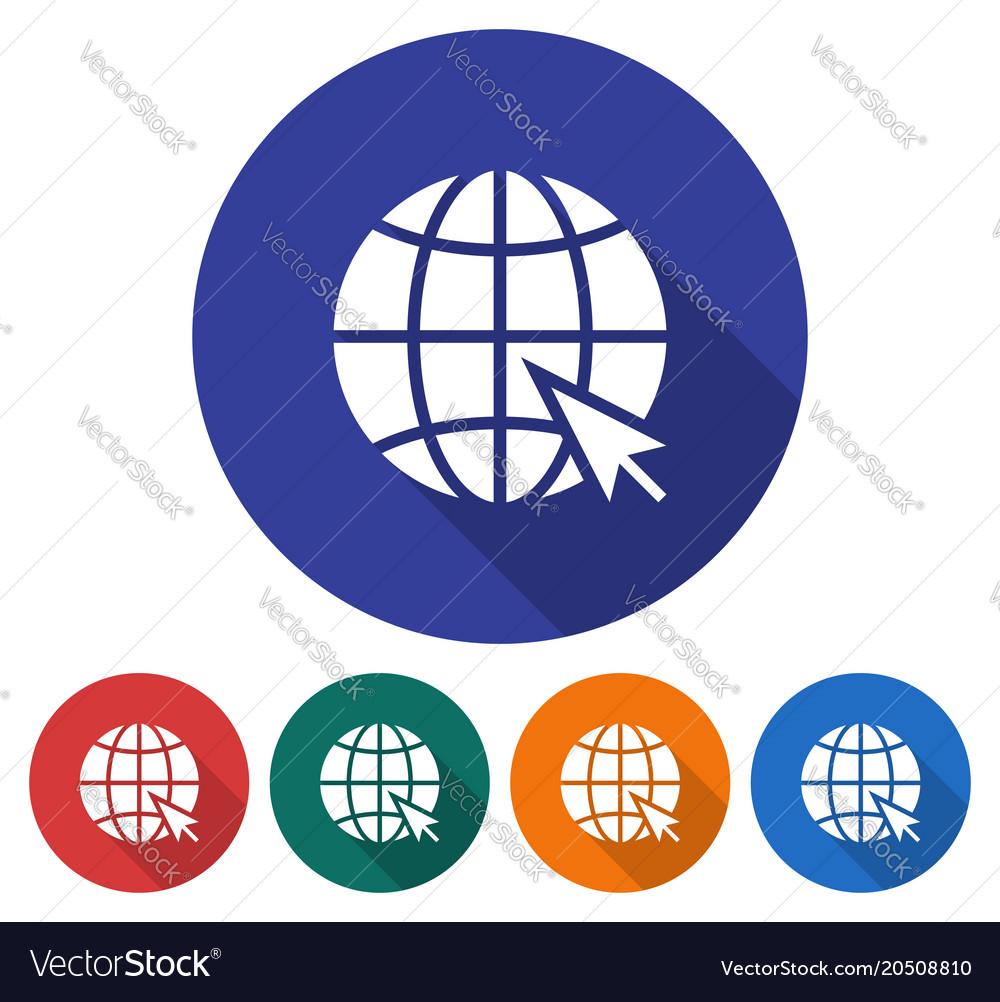 Round icon of globe with pointer arrow go to web