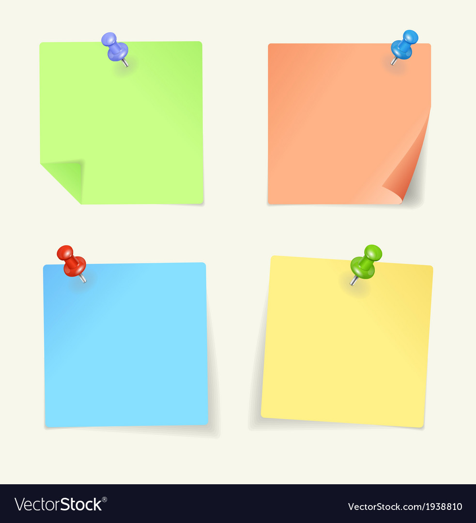 set of colour sticky notes with pin royalty free vector rh vectorstock com sticky note vector free download sticky note vector illustrator free