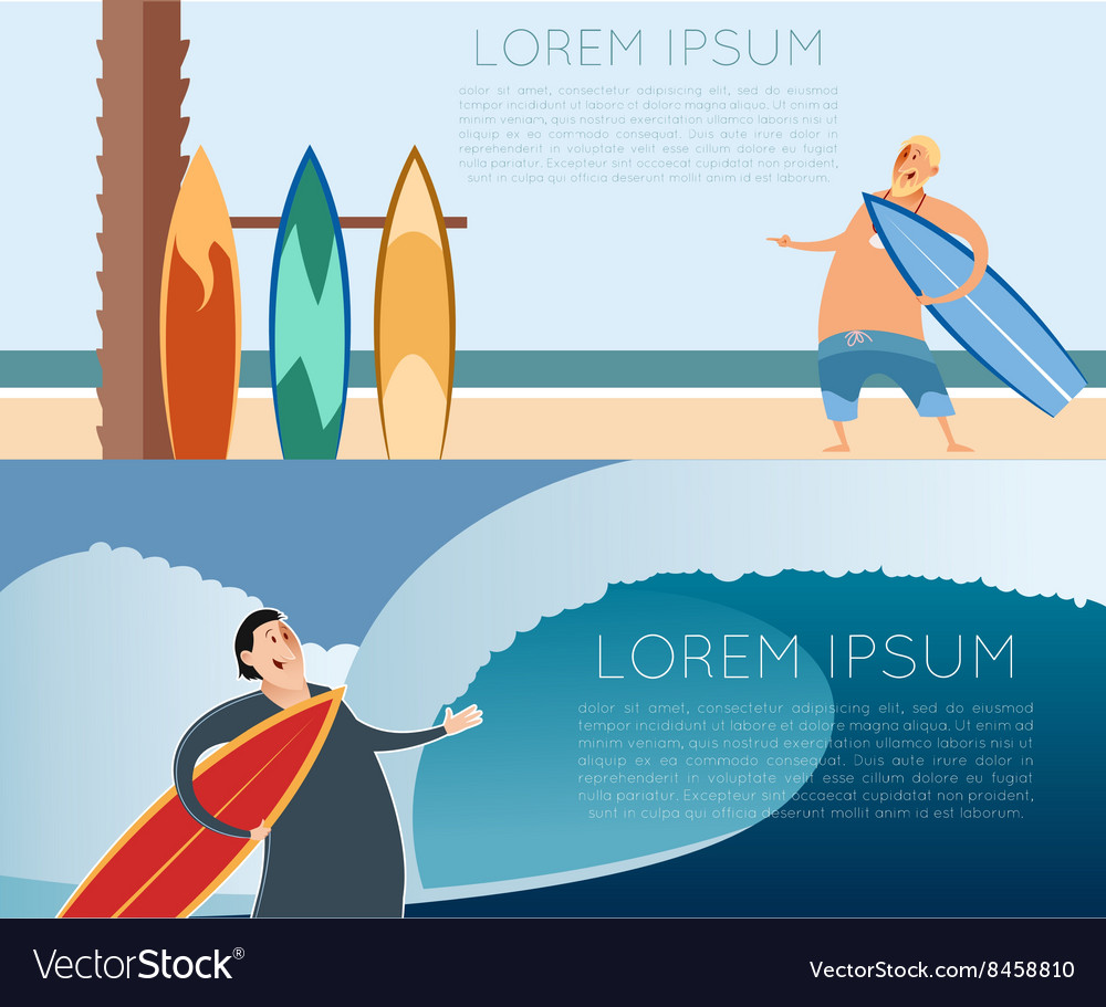 Set of surfer banners vector image