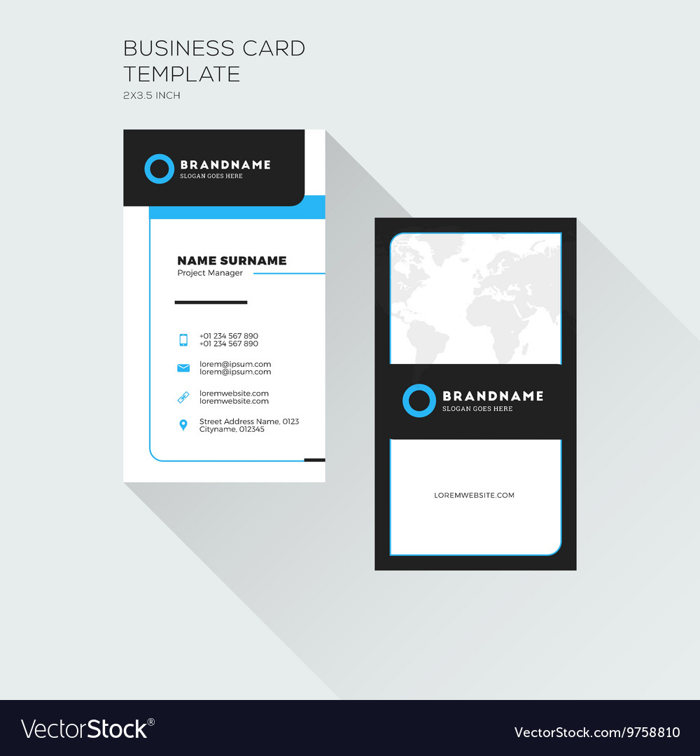 Vertical business card print template personal vector image cheaphphosting Image collections