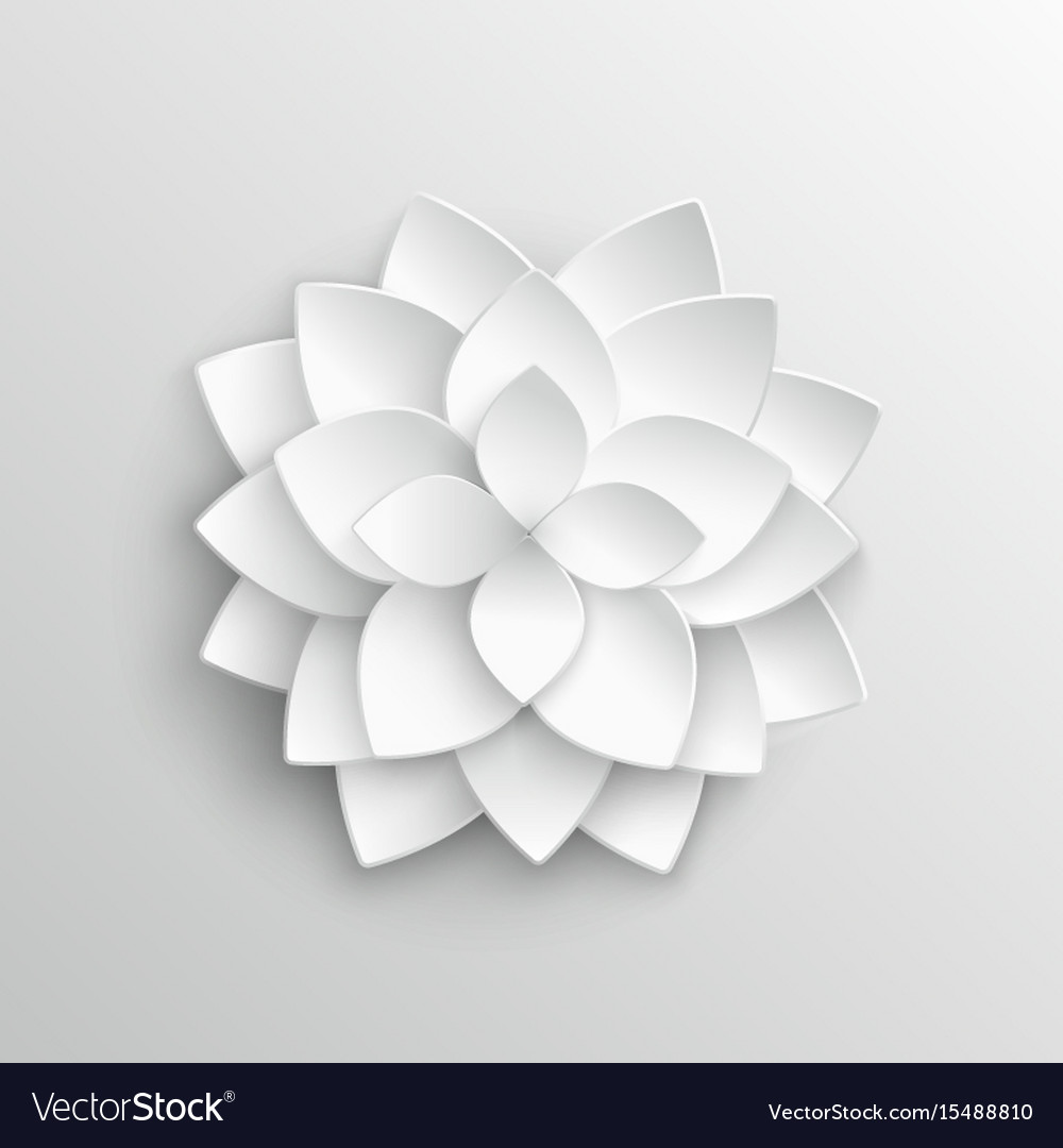 White Paper 3d Lotus Flower In Origami Style Vector Image