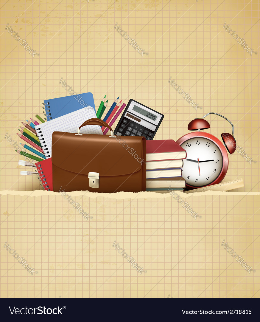 Back to school Retro education background with vector image