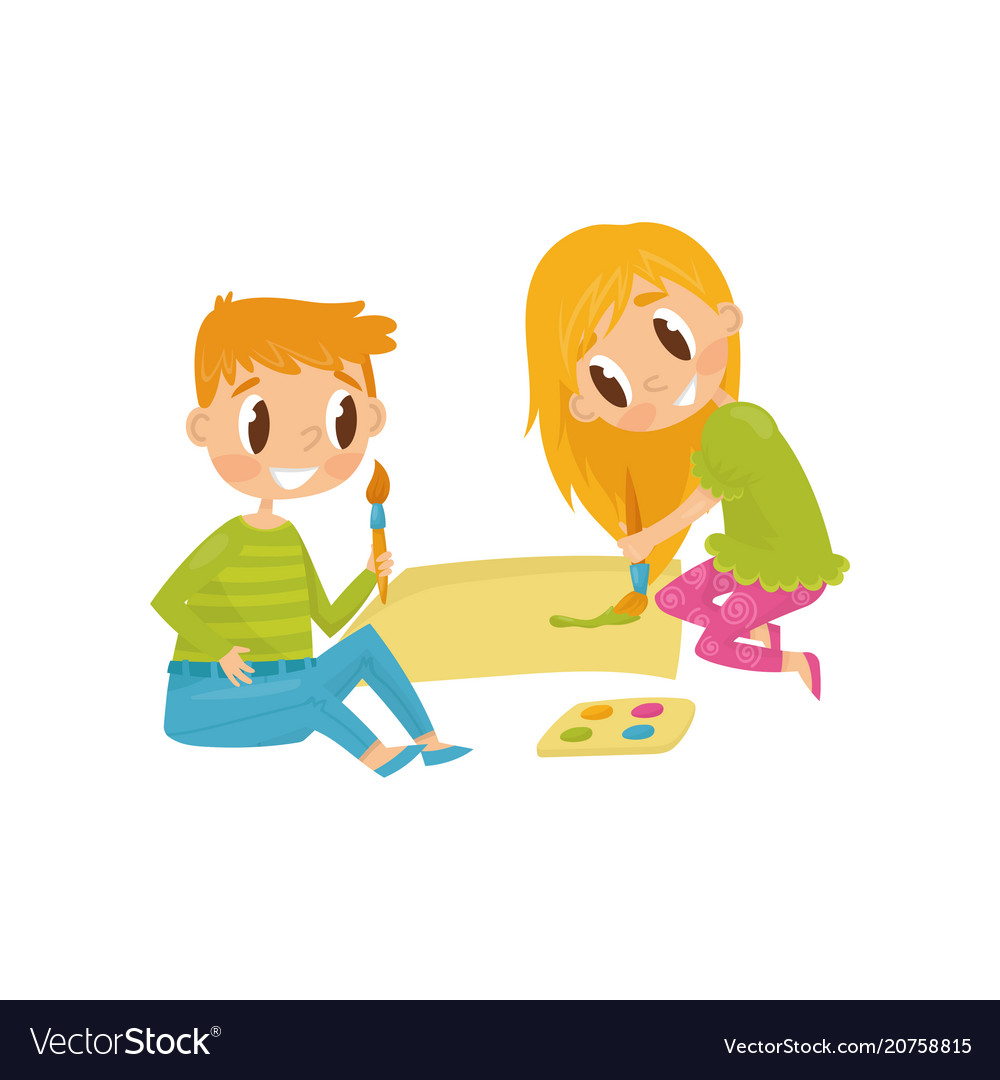 Cheerful children drawing picture tools for