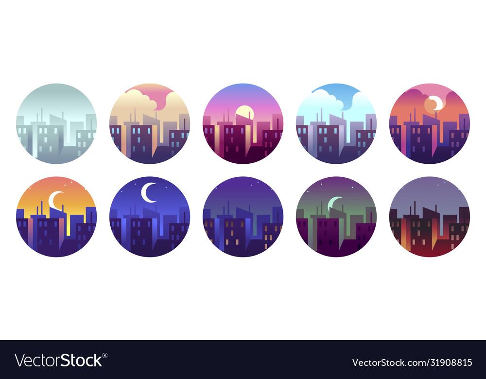 City circular landscapes dawn morning sunny