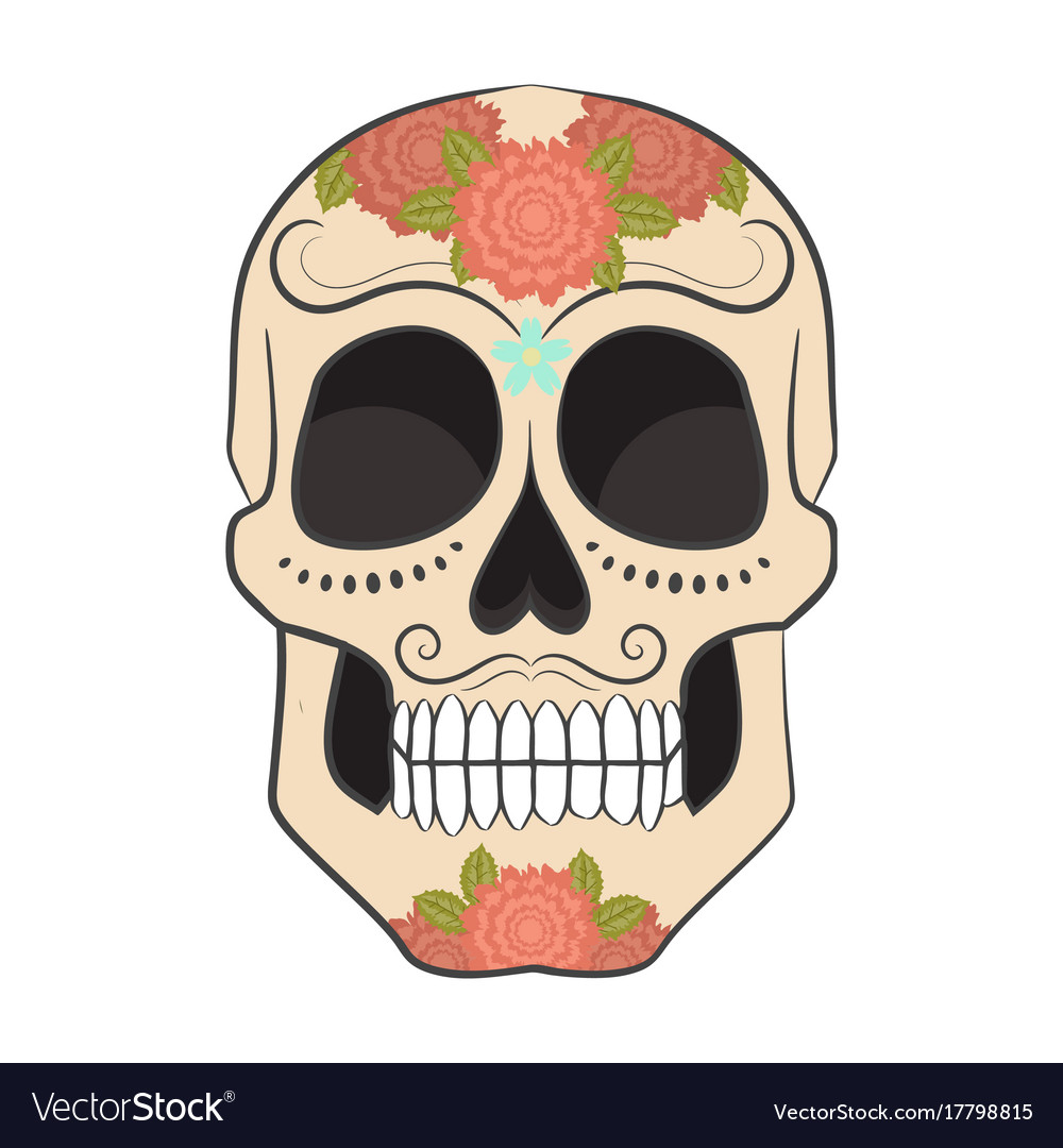 Colored day of the dead sugar skull with ornament