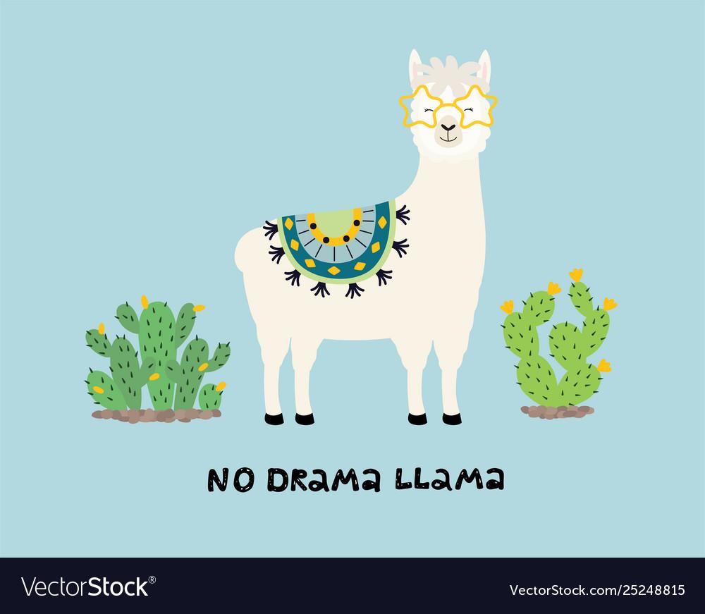 Cute cartoon llama with an inscription no drama