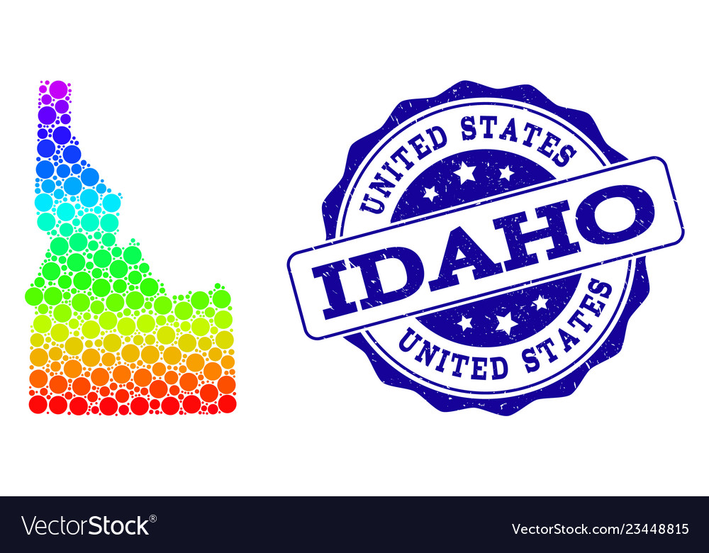 Dot rainbow map of idaho state and grunge stamp Vector Image