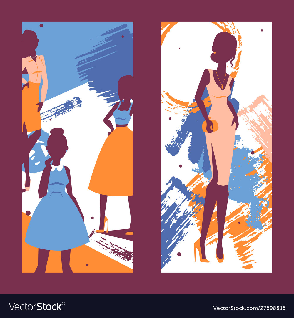 Fashion banner silhouettes of