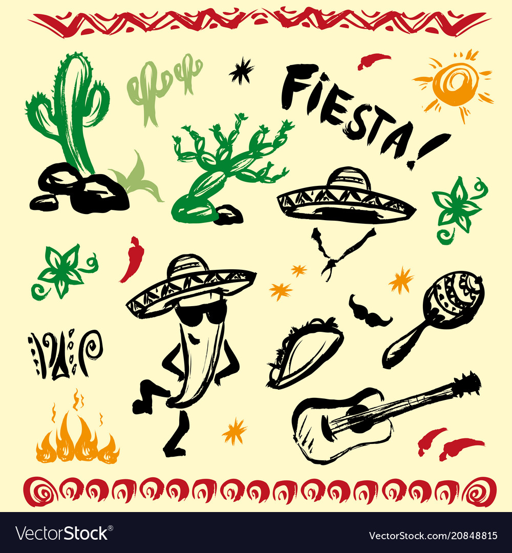 Hand drawn set of mexican symbols