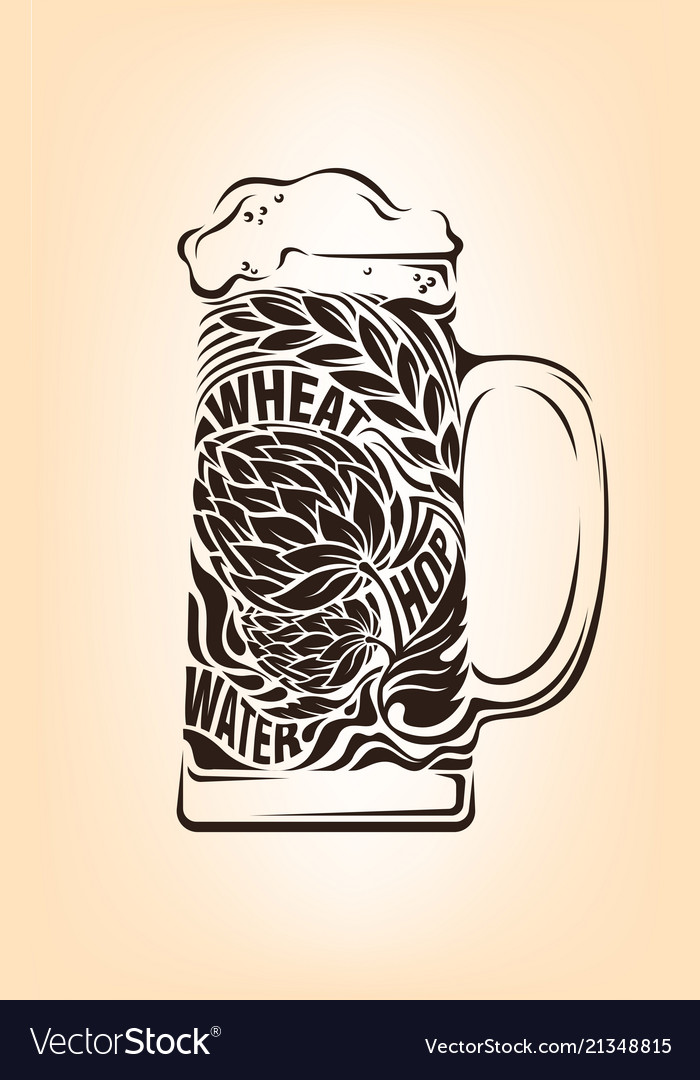 Hand drawn vintage graphic with beer mug and