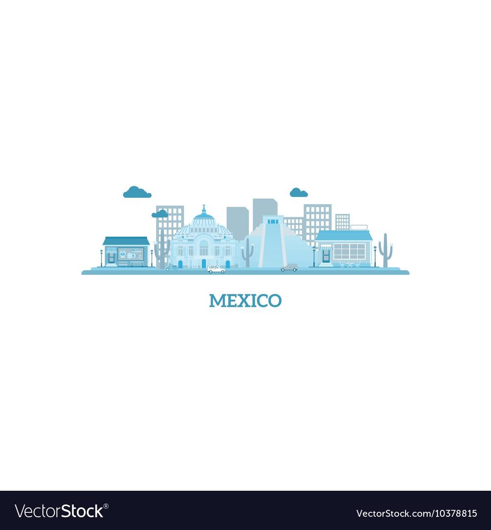 Mexico cityscape silhouette in blue colors