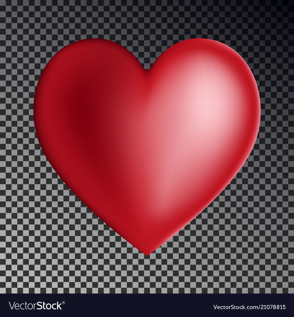 Red gradient heart isolated on transparent backgro