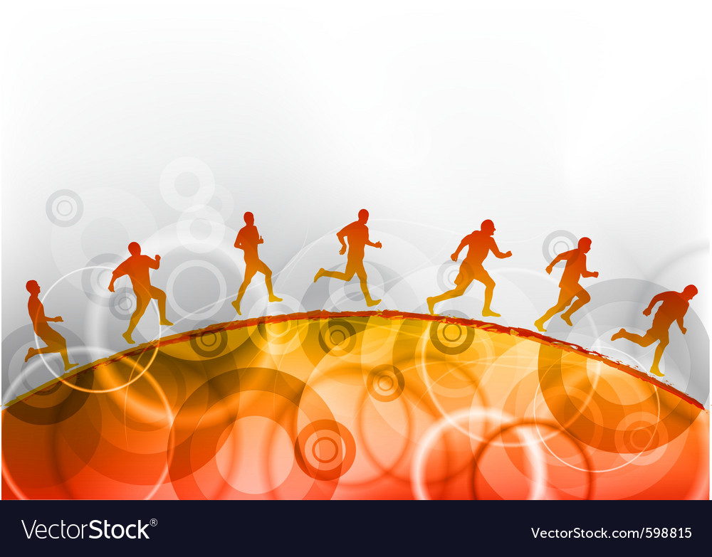 Running on the red hill vector image