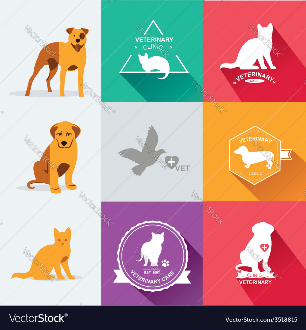 Set dog ans cats icon and labels flat