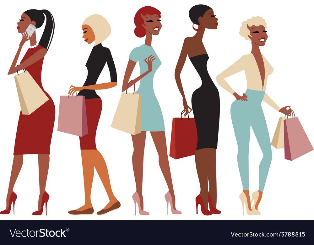 5445688f69 Shopping girls characters Royalty Free Vector Image