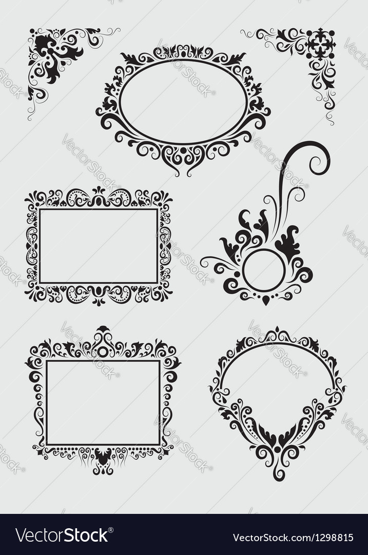 Swirl Ornaments Floral Frame and Corner