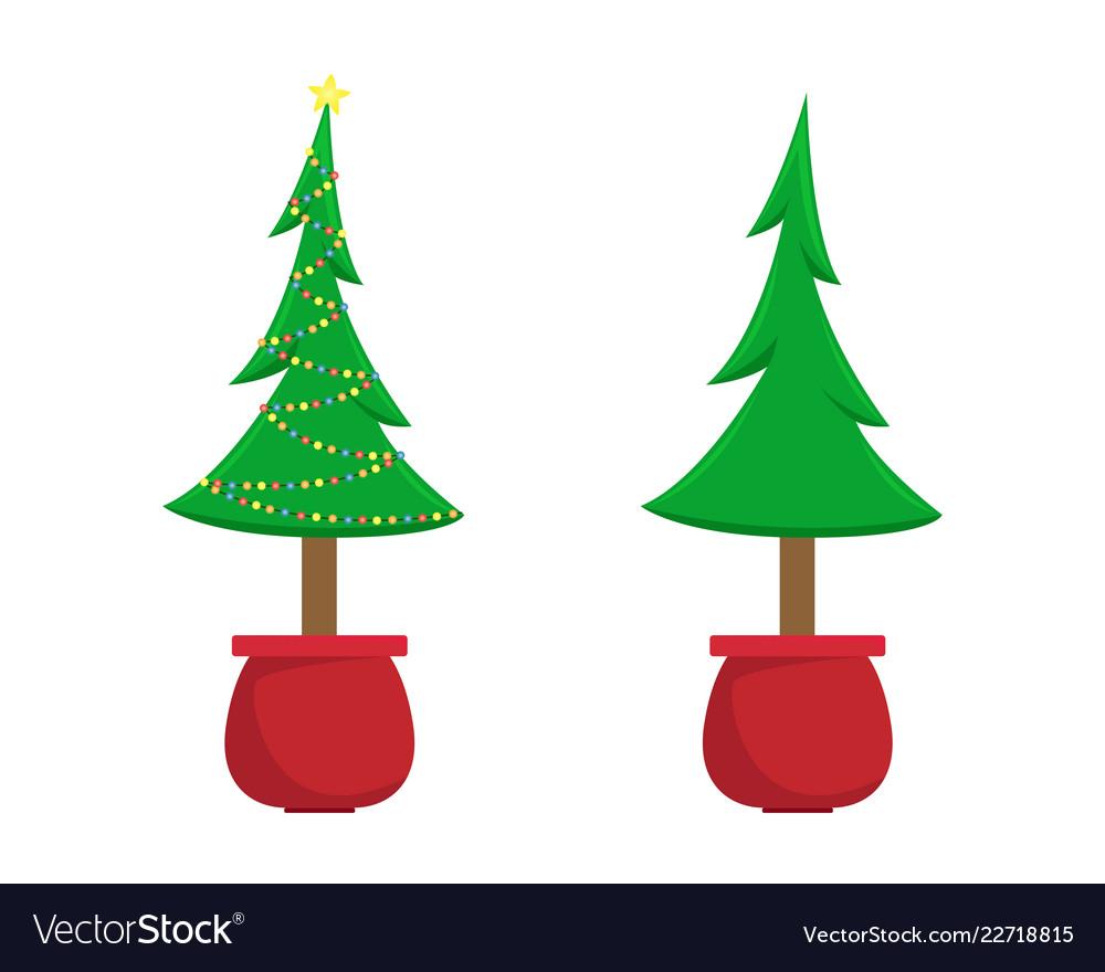 Two christmas trees christmas tree Royalty Free Vector Image